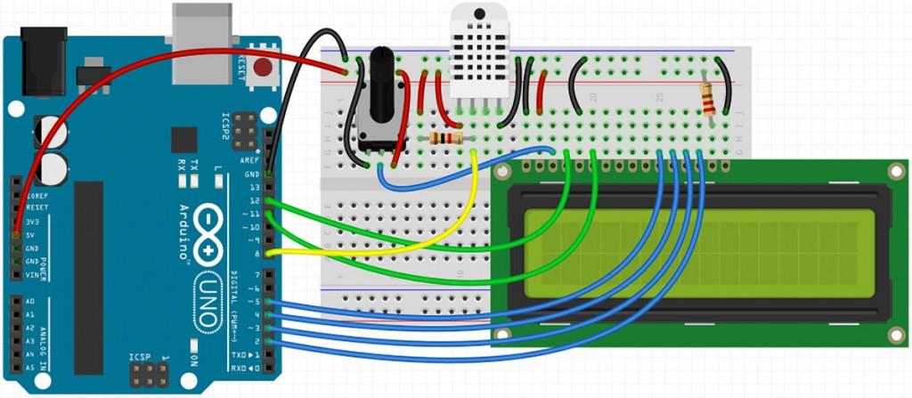 Temperatur und Luftfeuchtigkeit messen mit dem DHT22 – Schaltung mit Fritzing erzeugt